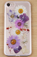 Wholesale Iphone Rubber Shell Case - New flowers cell phone case true flowers drop flash powder silicone rubber soft shell plants dried flowers phone case for iphone 6 6plus 7 7