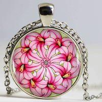 ingrosso ciondolo in bronzo-Pink Lily Mandala Logo Pendant Necklace Collana a catena a forma di cuore in bronzo a forma di cuore per i bambini