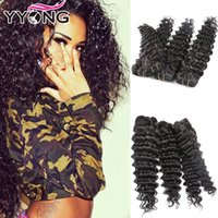 Wholesale Cheap Unprocessed Deep Wave Hair - YYONG Hair Company Cheap 8A Grade Unprocessed Brazilian Deep Wave 4 Bundles Virgin Brazilian Virgin Hair Bundles Free Shipping Natural Color