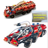 Wholesale Airport Toys - 2pcs Lepin 20042 20055 Technic The Airport Fire Truck Set Blocks Lepin car Genuine Mechanical Series The Rescue Vehicle car Bricks toys gift