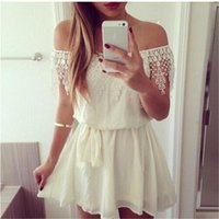 Wholesale Wholesale Evening Tops - Fashion Womens Summer Casual Lace Top Dress Sleeveless Party Evening Cocktail Short Mini Dress Slash Neck One Piece Dresses with lace Detail