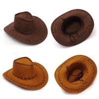 Wholesale Cowboy Rain Hats For Men - Vintage Leather Western Cowboy Hats Leisure Tourist Caps Wide Brim Sunhat for Men Women Trend Cowboy Cowgirl Unisex Hats