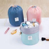 Wholesale red dressers - New Korean elegant large capacity Barrel Shaped Nylon Wash Organizer Storage Travel Dresser Pouch Cosmetic Makeup Bag For Women