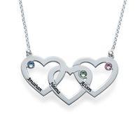 üç kalp kolye toptan satış-Toptan-Gümüş Kaplama Üç Kalp Kolye Custom Made Üç İsimler ecklace Kadınlar için Popüler Tasarım Kristal Kolye 2016 yılında