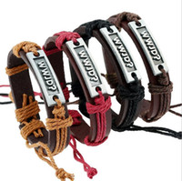 ingrosso ordine delle lettere del braccialetto-Good A ++ Bursts di lettere in lega retro tessitura braccialetto di pelle bovina FB076 ordine della miscela 20 pezzi molto braccialetti di fascino