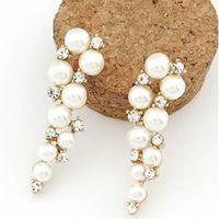 Wholesale Elegant Pearl Drop Earrings - Fashion Brand New Design Elegant Crystal and Pearl Drop Long Earrings For Woman hoop Gift Wholesale Jewelry