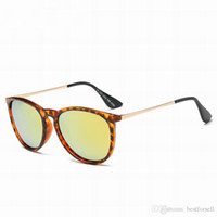 Wholesale vintage sunglasses sale - New Fashion Sunglasses Men Women Brand Vintage Metal Frame Erika Eyewear Designer Matt Leopard Gradient Sun Glasses online sale