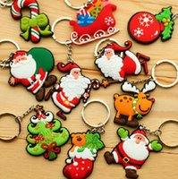 Wholesale santa christmas keys - Christmas Santa Claus PVC Soft Rubber Keychains Creative Christmas Tree Key Chain Key Ring For Christmas Children Gifts