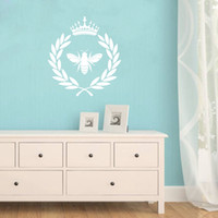 Wholesale paper bees - French Bee Laurel Wreath Crown Art Wall Sticker FQ0003