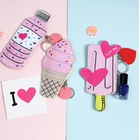 Venda Por Atacado Cartoon Women Coin Purses and Handbags Cute Icecream Bottle Leather Pouch Kawaii Children Wallet Small Bag para Keys Carteira
