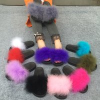 Wholesale Warm Fluffy Slippers - Slippers Fur Furry Open Toe Women Casual Flat Shoes Soft Warm Fluffy Slip On Cute Home Floor Slippers Autumn Winter 10 Colors