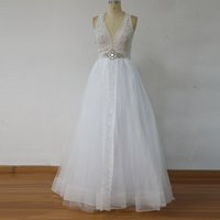 Wholesale Soft Pink Sashes - 100% Real Image Soft Tulle A Line Lace Wedding Dresses 2017 Halter Sexy Open Back bohemian Boho Wedding Bridal Gowns Layered Custom Made