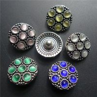 Mix Colors Fashion Cat Eye Opal Stones Noosa Chunks Metal Ginger 18mm Snap Buttons Ювелирные изделия для браслета