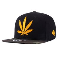 Wholesale Fashion Hip Hop Hat Yellow Hemp Leaf Embroidery Snapback Hats Cap for Men Women Brand Sports Hip Hop Flat Sun Hat Adjustable Baseball Cap