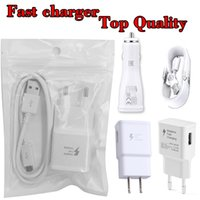 Wholesale Iphone Usb Cable Charger Kit - For Samsung Kit Quick Car Charger Wall Adapter 5V 2A One Set S7 S6 Travel 1M Micro USB Cable US EU Plug Charger