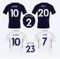 Wholesale Quality Soccer Kits - KANE home white Soccer Jerseys away deep blue sports tops DELE WALKER Football shirts ERIKSEN Men's thai quality Outdoor Sportswear SON kits
