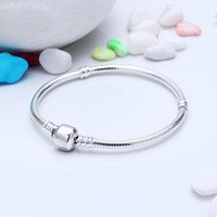 Wholesale Real Animals Dogs - Classic 16-21cm Real 925 Silver Not Plated Bracelet Snake Chain with Barrel Clasp Fit European Beads Pandora Bracelets With Logo Stamp DIY