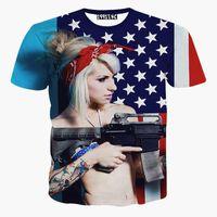 Wholesale Usa Fashion Sexy - tshirt USA flag printed men's 3d t-shirt funny digital printing sexy Girl holding gun short sleeve t shirt summer tops