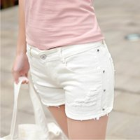 Wholesale Short Rivet Jeans - Ripped white jeans Jeans short High quality stretch fabric Branded jeans for ladies China wholesale jeanshosen