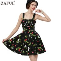 Wholesale Retro Cherry Dress - Wholesale- ZAFUL Brand 8 color Women Vintage Dress Cherry Print feminino Vestidos Audrey hepburn 50s Rockabilly Retro Robe Summer Dresses