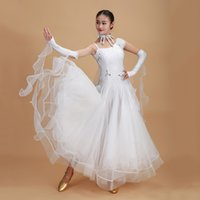 Wholesale Modern Stages - 2017 Women Ballroom Dance Dress 10Colors Home Made Rhinestone Top Gauze Skirt Performance Stage Modern Jazz Waltz Vestido Menina