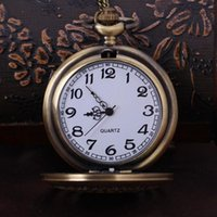 Wholesale Brass Watch Key - Wholesale-Vintage Retro Lucky Star Compass Bronze Pocket Watch antique brass bronze Watches key chain pocket quartz watch