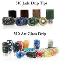 Wholesale Jade Hot Stones - HOTTEST 510 e cigs Art Glass Drip Tip Jade Stone Drip Tips Mouthpieces for 510 threading Atomizers Tanks Vape pen