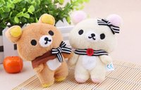 Atacado- SAN-X Rilakkuma Urso Plush, Kawaii Stuffed Bear brinquedo boneca; Key Chain Pendant Toy; Bouquet Toys, 11CM Small Gift Plush Toys