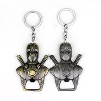 Wholesale Wholesale Jewelry Cast - 2 Color New Deadpool Bottle Opener Keychain Dead Pool Mask Comics Alloy Metal Key chain ring key holder Movie Jewelry Souvenirs S201704
