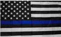 banderas blancas negras al por mayor-Artículos de fiesta USA Police Flags 3 * 5 Foot Thin Blue Line USA Flag Black White And Blue American Flag With Brass Grommets Banner Flags