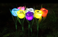 Wholesale Solar energy garden lights colorful tulips shining garden water proof outdoor decoration LED lights for wedding party garden decoration
