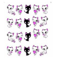 Wholesale Nail Water Decals Cute - NEW 1 Piece Lovely Cute Shy Cat Nail Art Stickers Decals Women Decorations French Tips Nail Art Water Transfer Wraps