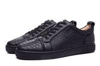 snakeskin elbise ayakkabı erkek toptan satış-Yeni Varış Erkekler Kadınlar Siyah Snakeskin Kırmızı Alt Sneakers Hakiki Deri Ayakkabı tasarımcısı Lüks Moda Açık Elbise Ayakkabı eur36-46