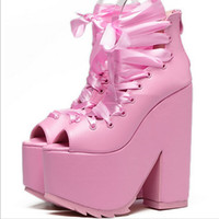 Wholesale Super Platform Boots - Women Club sexy lace up bandage pink peep toe platform pumps super very high heels ankle boots creepers chunky heels cosplay punk shoes