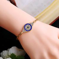 Wholesale Jewelry Turkey Gold Bracelet - Blue Turkey Eye Bracelet Charm Crystal Bracelets for Women Jewelry Link Chain Bracelet Friendship Bracelets Bijoux Gifts