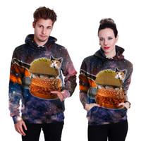 Wholesale Hamburger Pullover - Adult Hamburger Cat 3D print Sweatshirt Lovers Cute Print Pullover Hoodies Streetwear Tops Personality Autumn Winter cloth