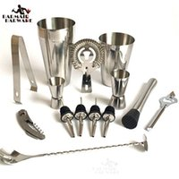 Wholesale Stainless Steel Cocktail Shaker Set - 13 Pcs Stainless Steel Cocktail Shaker Mixer Drink Bartender Browser Kit Bars Set Tools Professional Bartender Tool Free Shipping