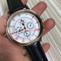 Wholesale Watch Faces Leather Band - AAA High Quality Men's automatic watches Sport Style Sky Moon Leather Band PP Men Dress Watch Double Face Man Wristwatch Original Clasp