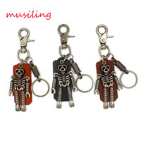 Wholesale Girl Skull Pendant - musiling Jewelry Leather Key Chain Skull Key Rings Car Key Ring Material Antique Copper Alloy Pendant Vintage European Charm Jewelry Mix