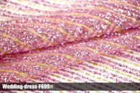 Wholesale Pink Glitter Fabric - African Arabic glitter lace sequin elegant pink mesh fabrics new design pattern high quality clothing multi color wedding dress for party