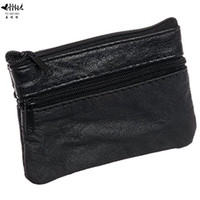 Wholesale Wholesale Leather Small Coin Pouches - Mini Coin Purse Wallet Genuine Leather Men Women Small Change Pouch Bags Cards Key Holder Coin Purses Wallets free shipping