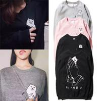 Wholesale Animal Crewneck Sweatshirt - 2017 Fashion Brand Mens and Womens Ripndip Pockets Cat Pullover hoodies crewneck hiphop ripndip sweatshirt unisex harajuku clothing hoodie