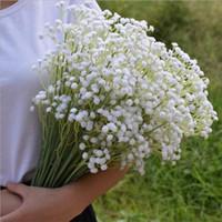 suni çiçekler ipek mor toptan satış-60 cm Gypsophila Babys Nefes Yapay Sahte Ipek Çiçekler Bitki Ev Düğün Dekorasyon 3 Renk Beyaz Bej Mor