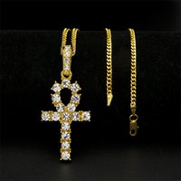 Wholesale Egypt Crystal - Hip Hop Silver Gold Ankh Egyptian Jewelry Bling Rhinestone Crystal Key To Life Egypt Cross Necklace Cuban Chain