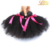 natürliche menschliche haarfirma großhandel-100% brasilianische Afro Kinky Curly bündelt Menschenhaar-Einschlag-natürliche Farb-Remy-Haar-Erweiterungen für schwarze Frauen freies Verschiffen Longjia Hair Company