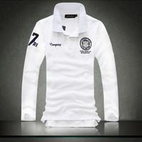 korece erkekler moda tişörtleri toptan satış-Moda şehir yeni erkek t- shirt polo gömlek korean sürümü yaka erkek rahat İngiliz uzun- kollu t- shirt