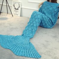 Di alta qualità Mermaid Throw Coperta in pile per adulti Crochet Scaglie a maglia Pinne Snuggle Throw Sofa Snuggie Sacco a pelo