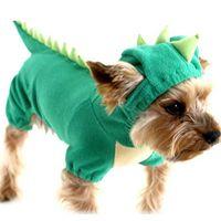 xs köpek halloween kılık toptan satış-Dinozor Köpek Pet Cadılar Bayramı Kostüm XS Sml XL Pet Köpekler Yeşil Ceket Kıyafetleri Büyük