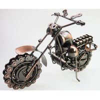 Wholesale Model Motorbikes - Large Size HandMade iron art Bronze Color Retro Style Metal Harley Motorcycle Motorbike Autobike Model Toys For Kids Men Birthday Gift