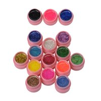 Wholesale Gel Color Nails Tips - Wholesale- 16 pot lot Nail Varnish Mix Pure Glitter Pure Color UV Builder Gel Nail Art Tips Shiny gel Cover Extension Beautiful Manicure